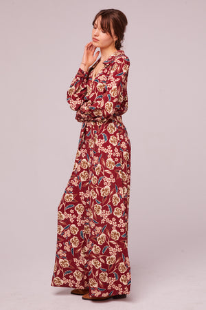 Imperial Burgundy Floral Wide Leg Pant Side