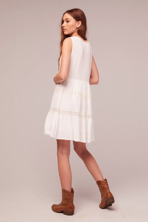 Independent White Rayon Lace Baby Doll Dress Back