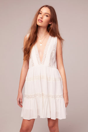 Independent White Rayon Lace Baby Doll Dress Close