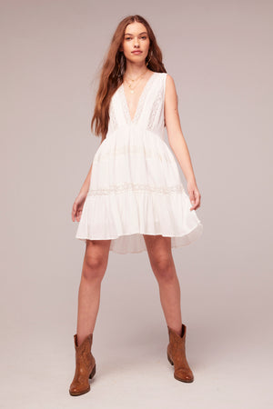Independent White Rayon Lace Baby Doll Dress Detail