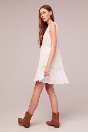 Independent White Rayon Lace Baby Doll Dress Side