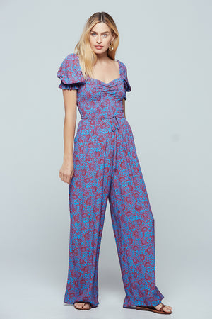 Indigo Printed Puff Sleeve Jumpsuit Detail