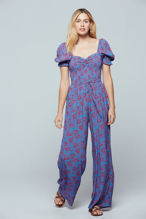 Indigo Printed Puff Sleeve Jumpsuit Front