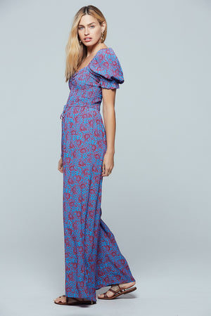 Indigo Printed Puff Sleeve Jumpsuit Side
