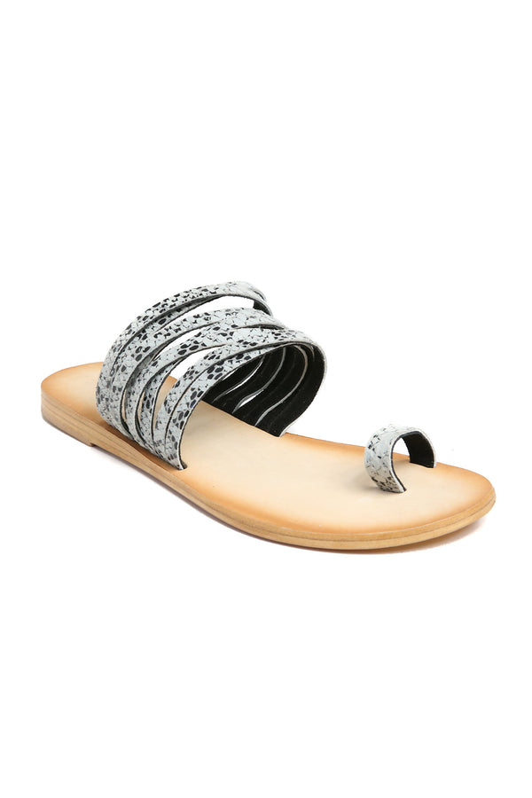 Iona Snake Print Leather Sandal Front