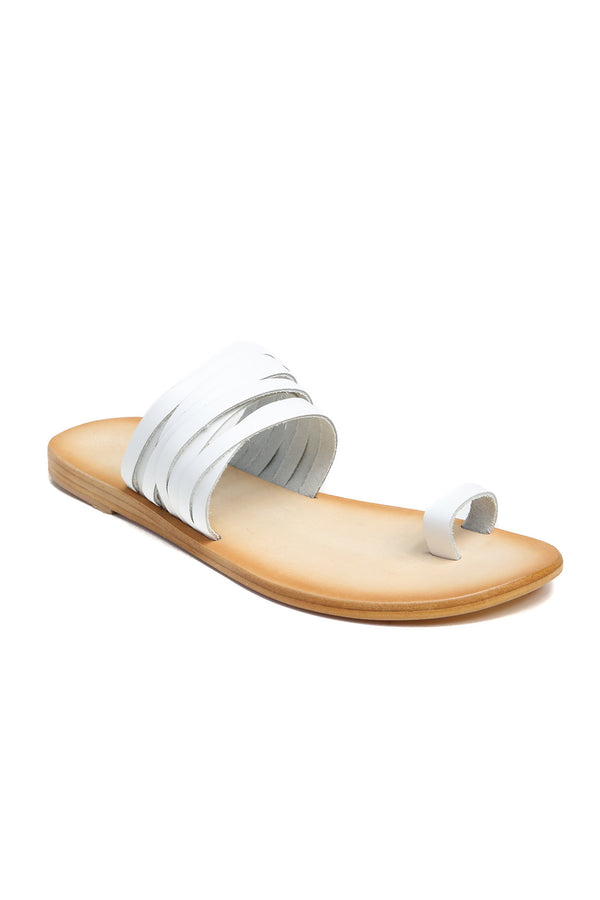 Iona White Print Leather Sandal Front