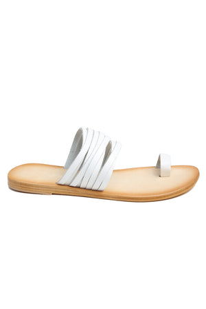 Iona White Print Leather Sandal Side