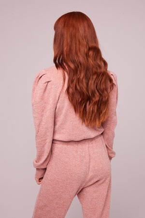 Irene Rose Shimmer Puff Sleeve Sweater Back