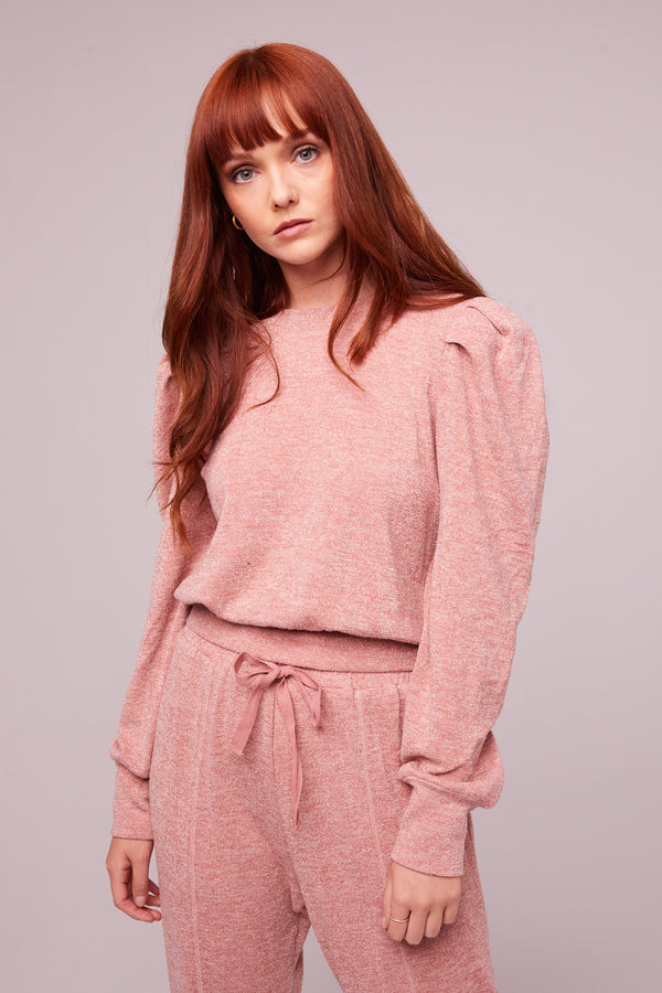 Irene Rose Shimmer Puff Sleeve Sweater Master