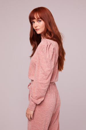 Irene Rose Shimmer Puff Sleeve Sweater Side