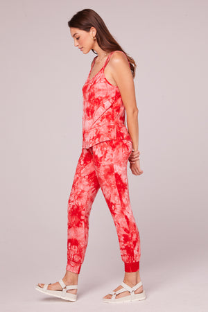 Jaime Red Tie Dye Jogger Pant Side