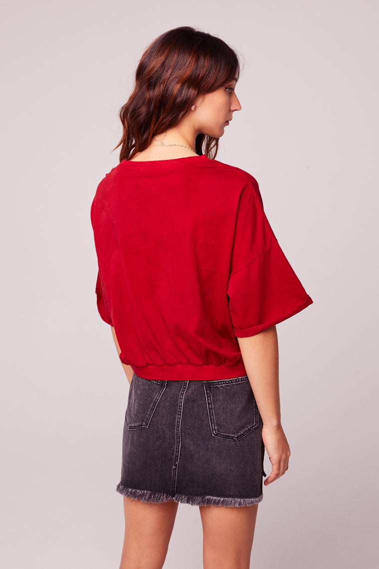 Jan Batik Red Button T-Shirt Top Back