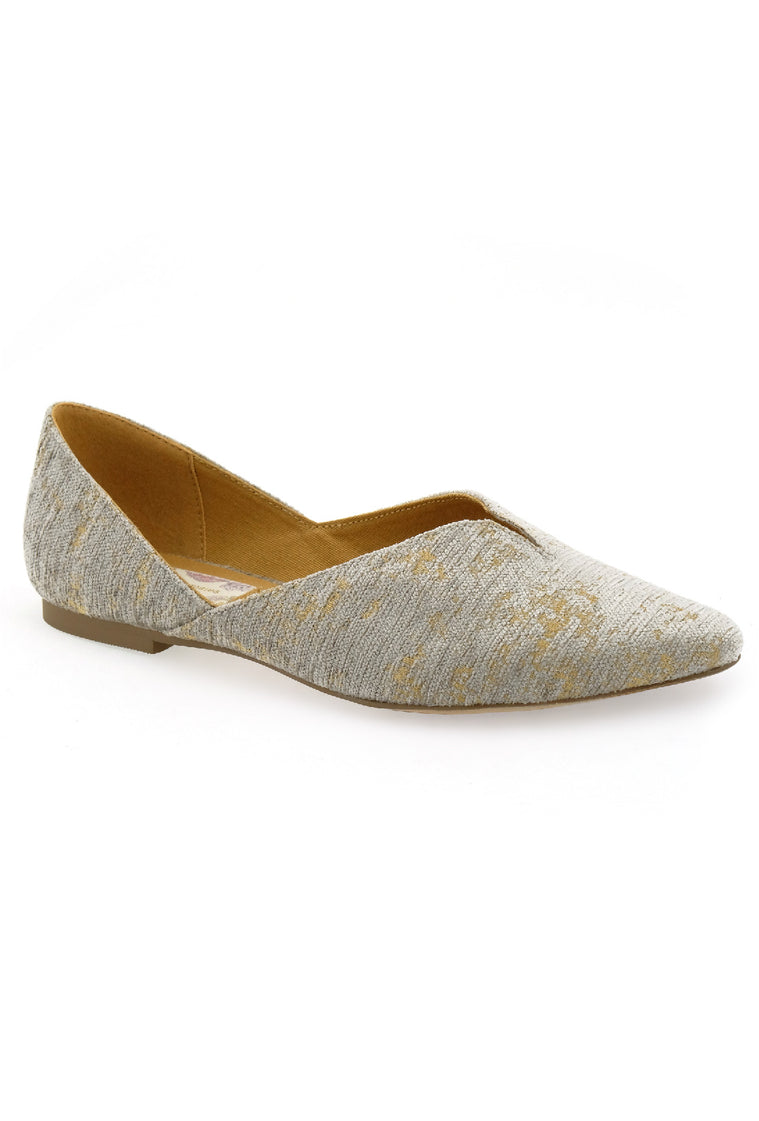 Jasmine Distressed Chenille Grey Vegan Flat Master