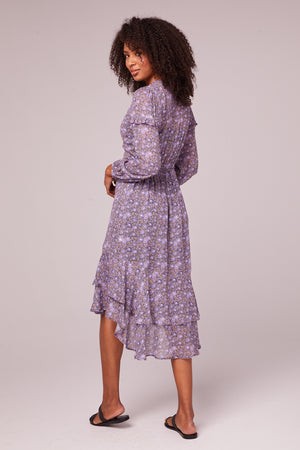 Jayne Lavender Floral Midi Dress Back