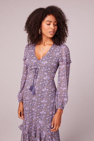 Jayne Lavender Floral Midi Dress Detail