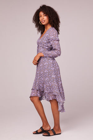 Jayne Lavender Floral Midi Dress Side