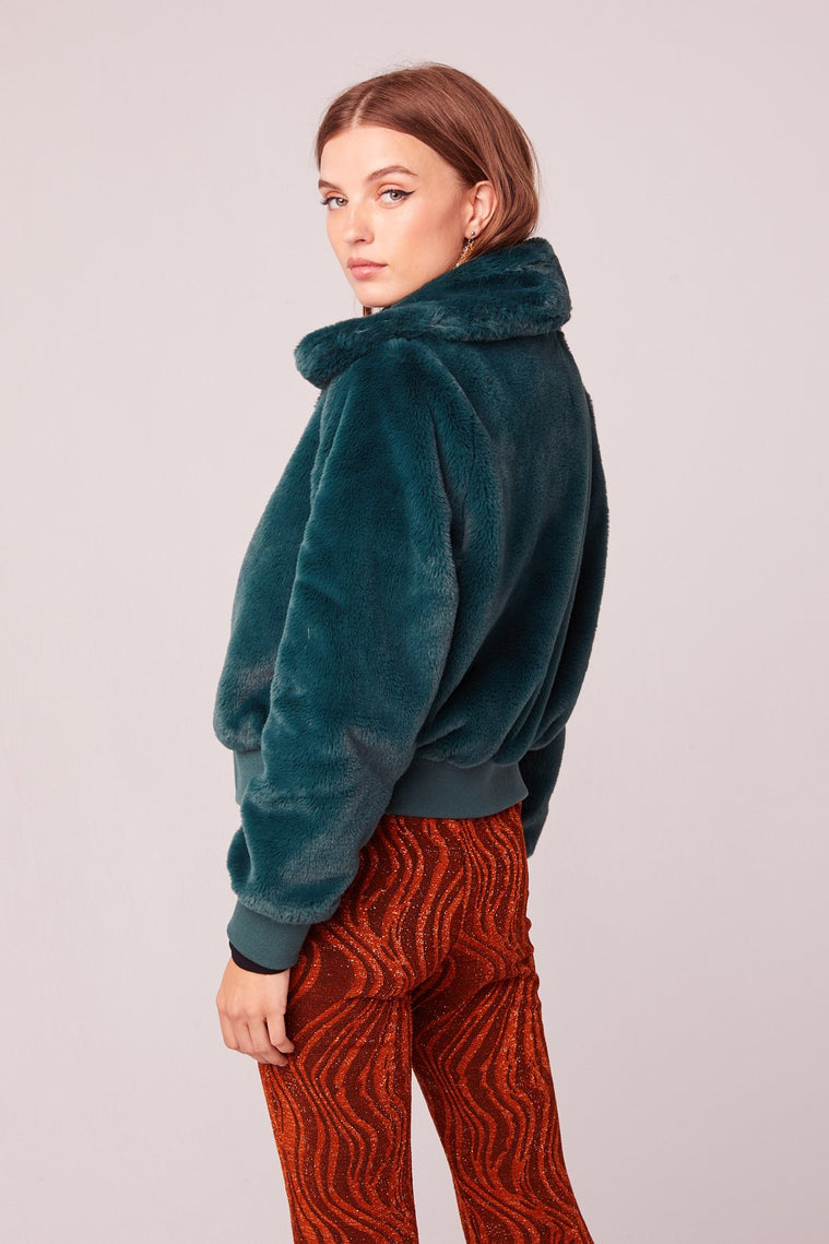 Je T'Adore Green Faux Fur Bomber Jacket