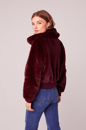 Je T'Adore Faux Fur Bomber Jacket Back