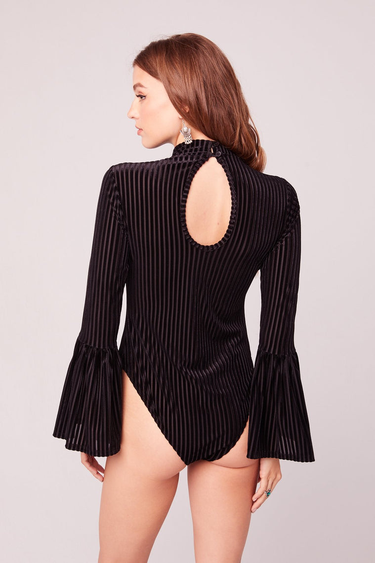 Jolie Black Bell Sleeve Bodysuit