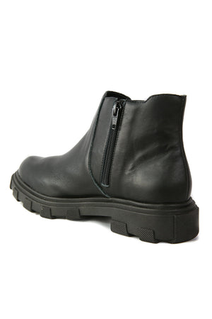 Jonny Black Leather Chelsea Bootie Back