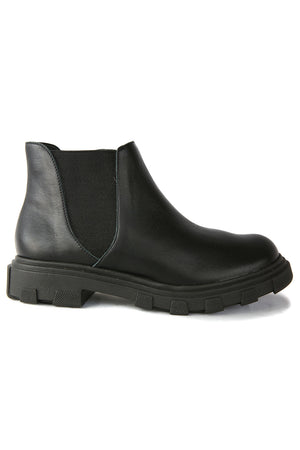 Jonny Black Leather Chelsea Bootie Side
