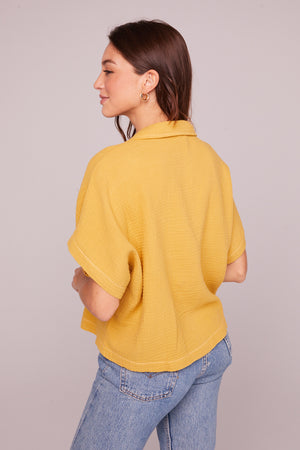 Jules Mustard Collared Crop Shirt Back