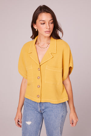 Jules Mustard Collared Crop Shirt Detail