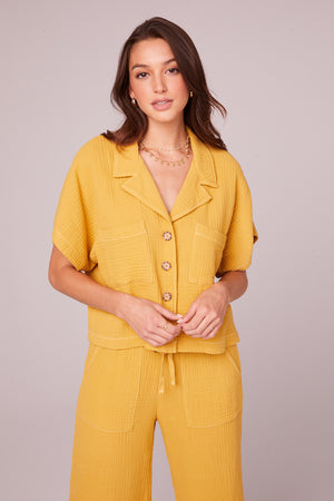 Jules Mustard Collared Crop Shirt Front