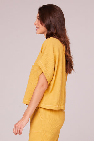 Jules Mustard Collared Crop Shirt Side