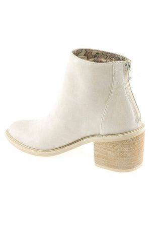 Juno Brushed Satin White Ecru Booties Back