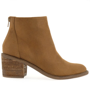 Juno Brushed Satin Tobacco Booties Side