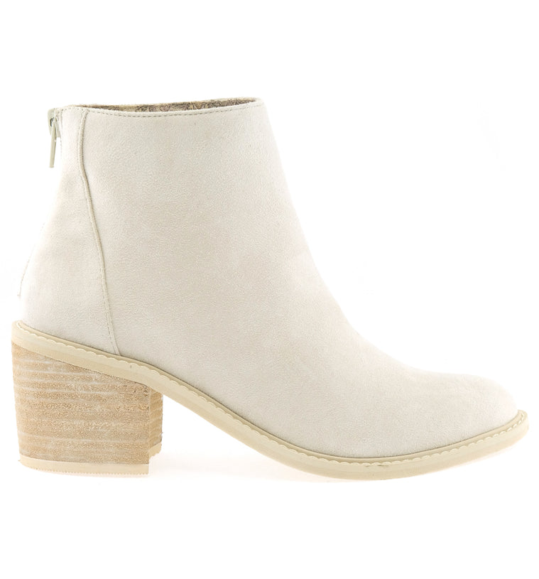 Juno Brushed Satin White Ecru Booties Side