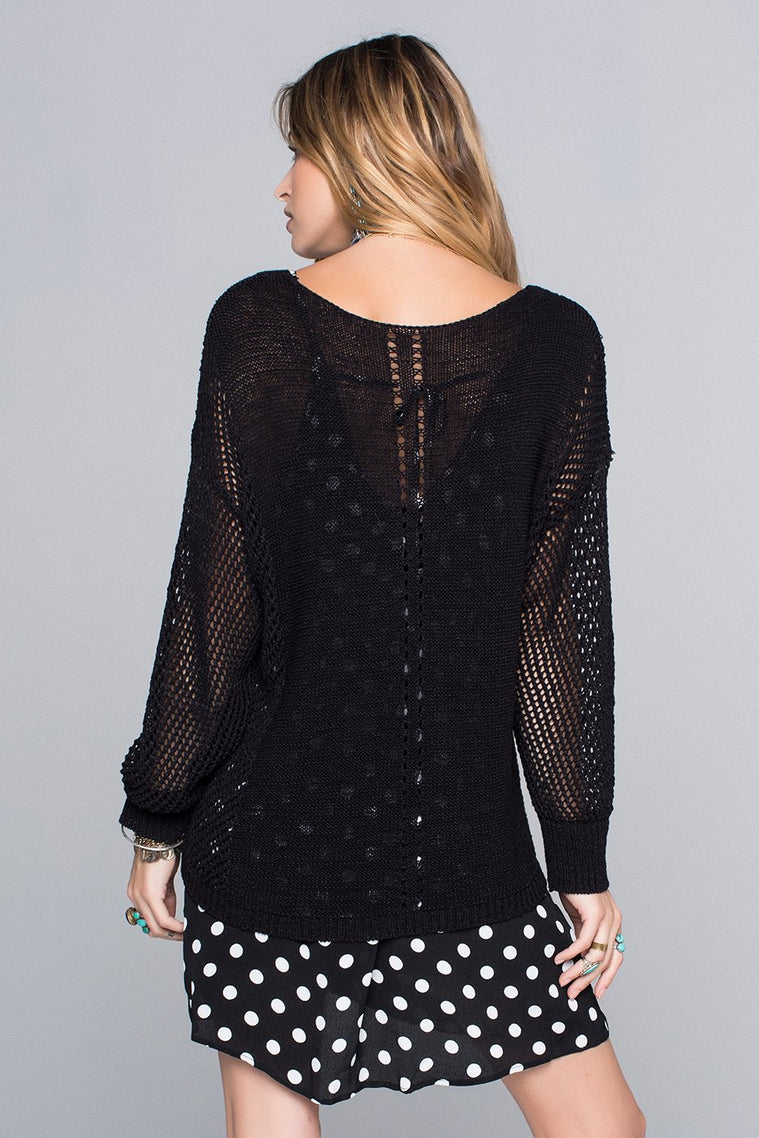 Avery Black Knit Sweater Top Back