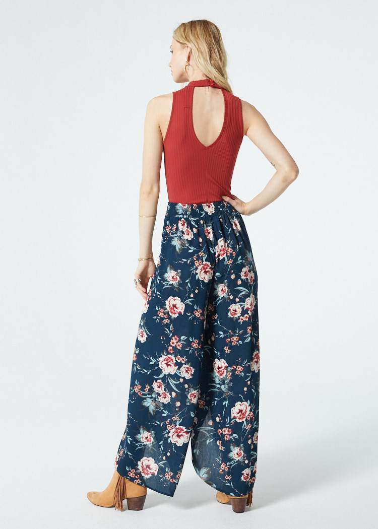 Diem Dark Teal Floral Walkthrough Pant