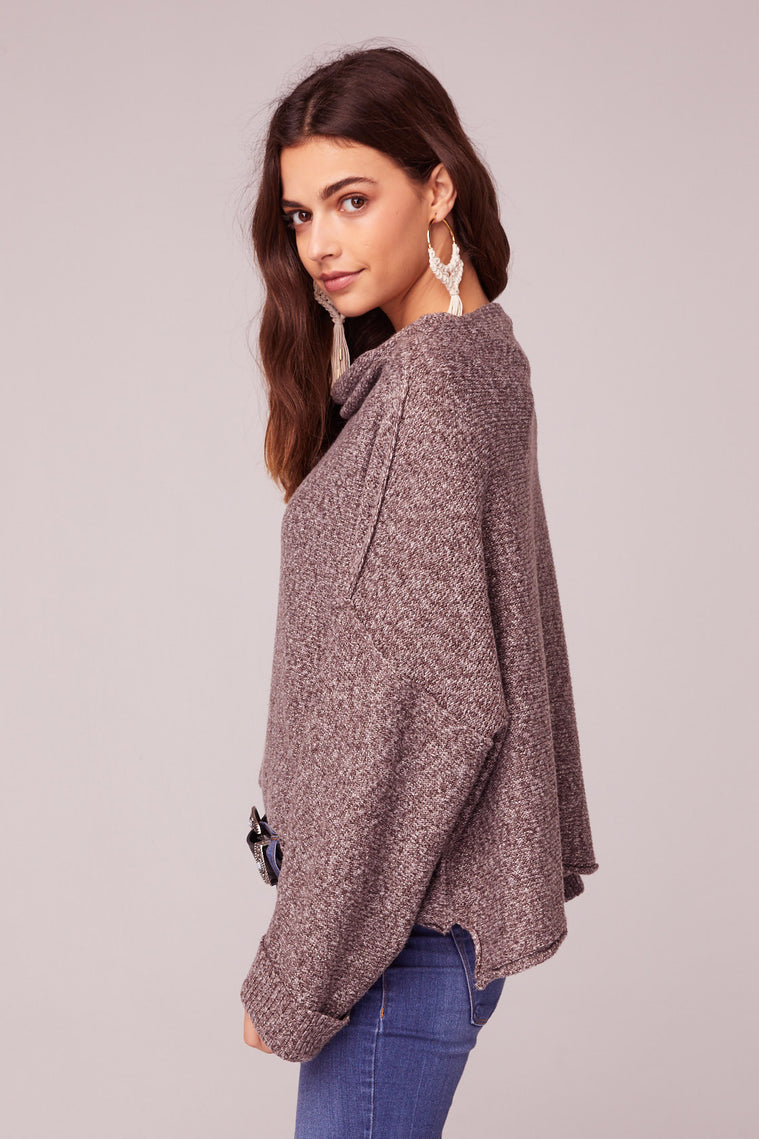 Kashmir Rolled Mock Neck Sweater Side Detail
