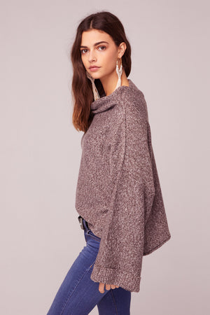 Kashmir Rolled Mock Neck Sweater Side