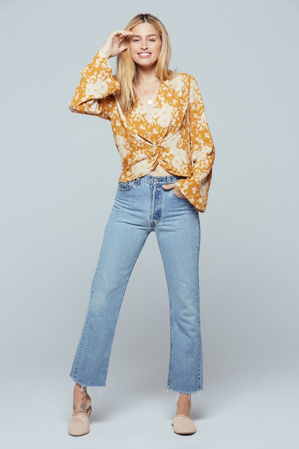 Kauai Gold Floral Print Twist Front Top