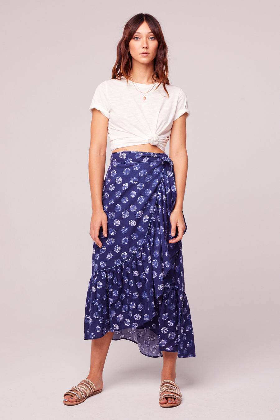 Kelly Batik Blue Dot Ruffle Maxi Skirt Master