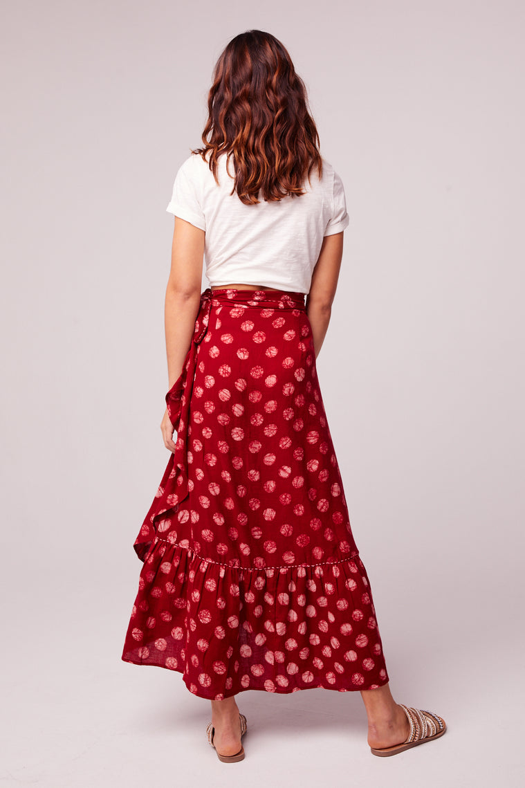 Kelly Batik Red Dot Ruffle Maxi Skirt Back