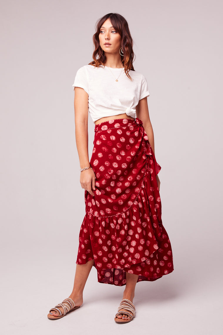 Kelly Batik Red Dot Ruffle Maxi Skirt Front