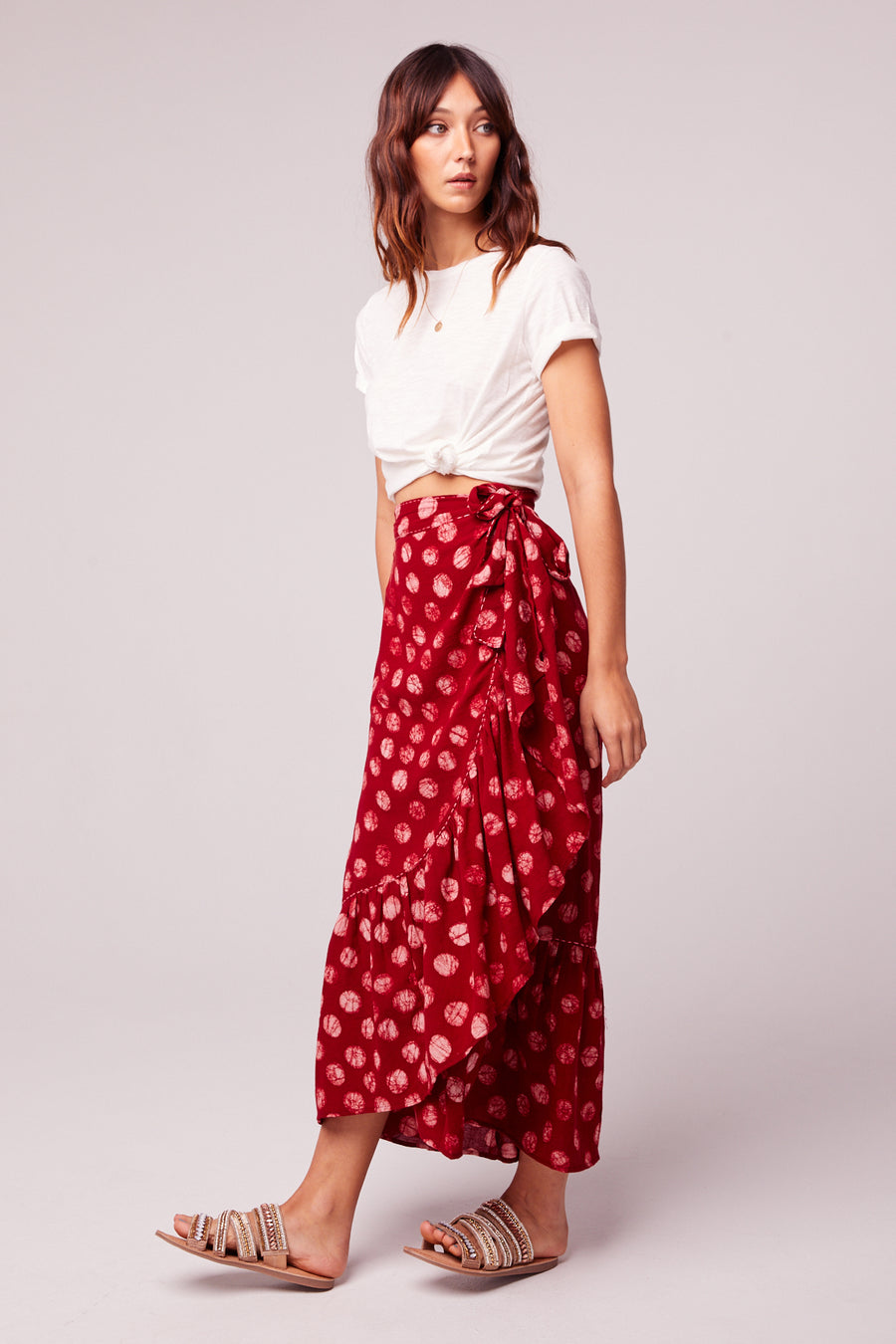 Kelly Batik Red Dot Ruffle Maxi Skirt Master