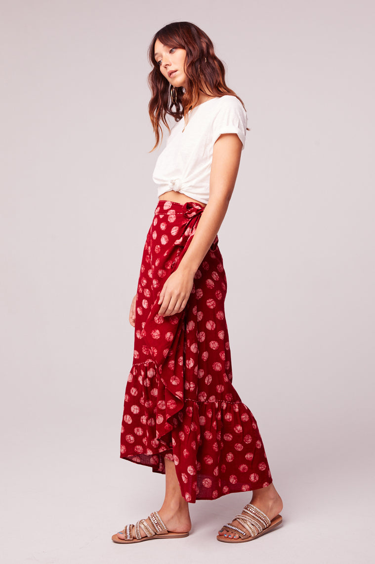 Kelly Batik Red Dot Ruffle Maxi Skirt Side