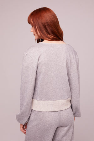 Kerr Heather Gray Shimmer Pullover Sweatshirt Back
