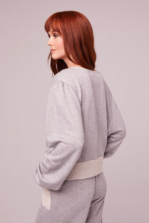 Kerr Heather Gray Shimmer Pullover Sweatshirt Side