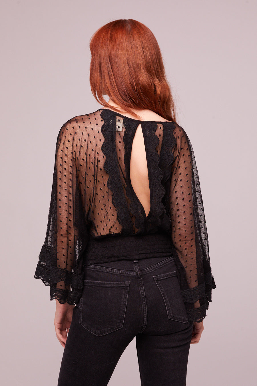 Kim Black Sheer Scallop Lace Blouse Master