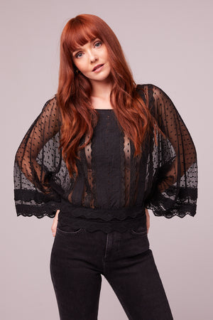 Kim Black Sheer Scallop Lace Blouse Front
