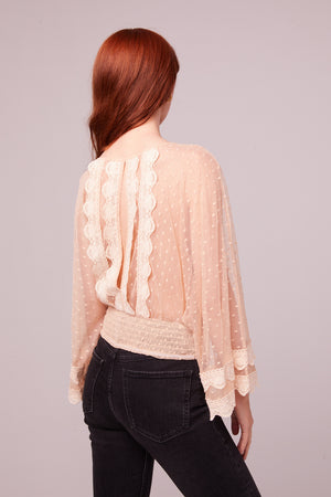 Kim Ivory Sheer Scallop Lace Blouse Back