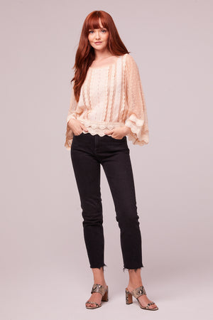Kim Ivory Sheer Scallop Lace Blouse Detail
