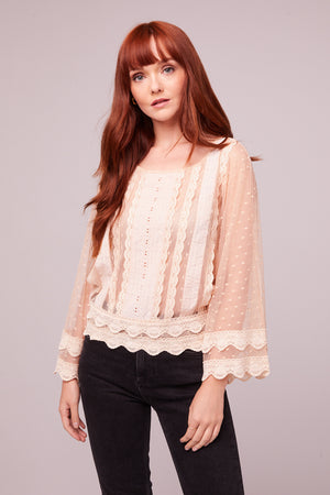 Kim Ivory Sheer Scallop Lace Blouse Master