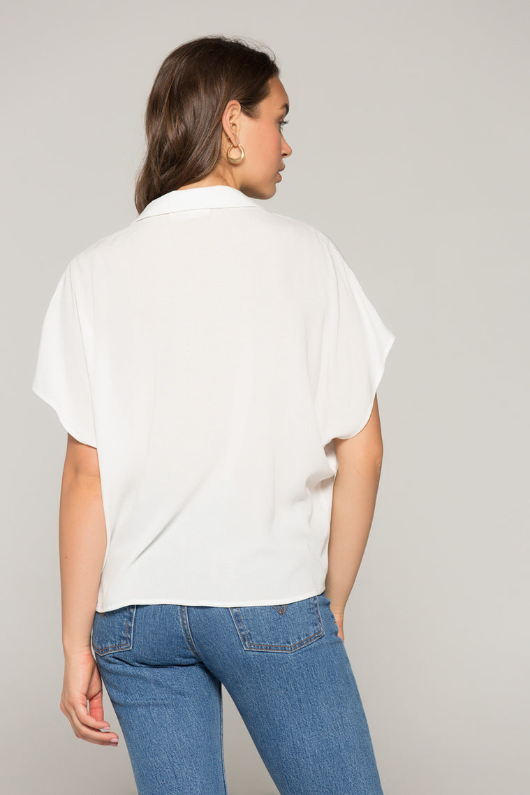 Kristin Tie Front White Top Back